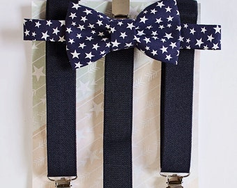 Navy Stars Bow Tie Suspenders For Boy To Men, Boys 4th of July Bow Tie, Boys Cake Smash, 1st Birthday Boy, Wedding Bow Tie, Boys Formal Wear