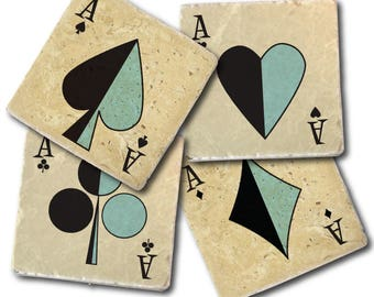 Personalized Playing Cards Coasters | Pick Any Number and Suit | Mid Century Style | MCM | Vintage | Retro | Ace | Clubs | Hearts | Spades