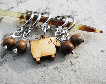 Wooden Sheep Non Snag Stitch Markers