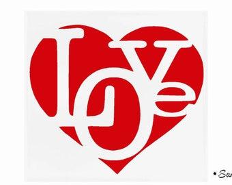 Love text fusible applique heart large format