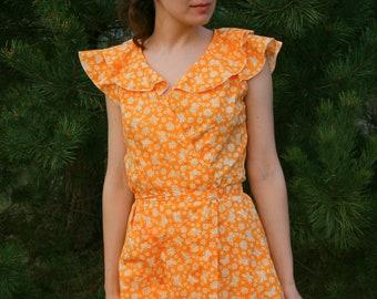NEW Soviet SunDress  / Butterfly Orange Cotton Frilly Wrap Tea Dress, New With Tags Ukrainian USSR Summer Dress ----> Size: S - XS - Teenage