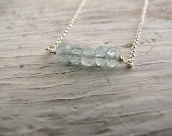 Birthstone Necklace, Aquamarine Bar Necklace, Layering Necklace, March birthday, Sterling Silver
