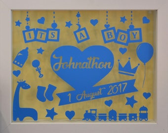 Its a Boy - Personalised White Shadow Box Frame - Newborn Gift - Various Colours Available