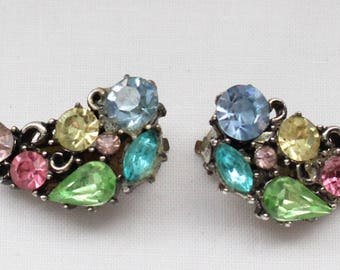 BNE # 116 Vintage Signed Lisner Silver Tone Clip On Earrings with Crystal Rhinestones in Blue, Green, Yellow, Aqua, and Pink