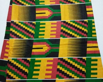 Per Yard Fabric yellow and Red mix kente print fabric per yard/ African kente print fabric/ African Textiles