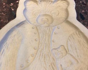 1984 Brown Bag Cookie Art Cookie Press teddy bear & kitten