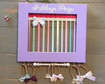 Girl Nursery Decor, Hair Bow Holder, Hair Bows, Shabby Chic, Framed Hairbow Holder, Hair Bow Board, Headband Holder, Baby Shower Gift,