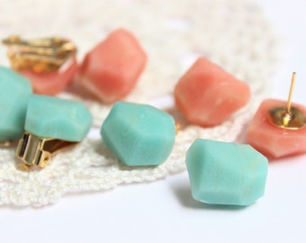 Turquoise Blue or Soft Pink & Vanilla White Gemstone Earrings, Soft Marble, Pierced Earrings, Clip Earrings, Nickel Free, 18k Gold Plated