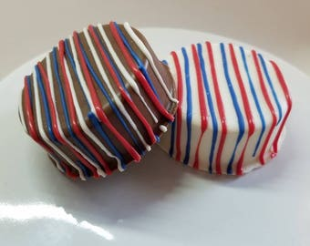 4th of July Chocolate Covered Oreos, Red white & blue Oreos