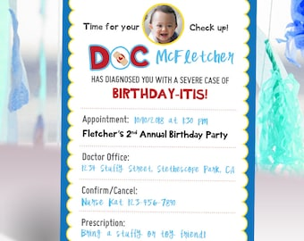 Doc McStuffins Stuffy Inspired Boy Checkup Card Birthday Invitation with Photo Blue Red Printable