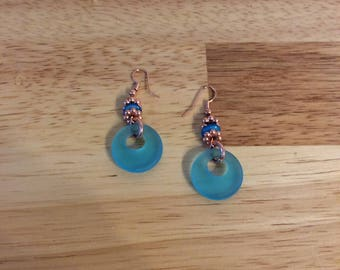 Tourquoise blue sea glass earrings, with copper accents.