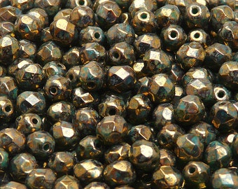 50pcs Czech Fire-Polished Faceted Glass  Beads Round 6mm Turquoise Green Sprayed Gold  (6FP052)