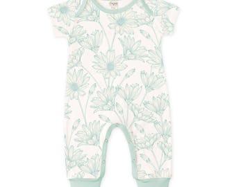 SPRING SALE! Newborn Baby Girl Onesie, Baby Summer Outfit, Infant Girl Onesie Bodysuit, Baby Girl Floral Romper, Aqua Daisies Baby Romper