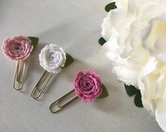 Flower paperclips felt roses stationary planners