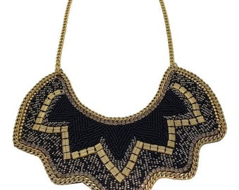 Necklace black and gold plated, Black and Gold statement necklace, Black and gold bead bib necklace