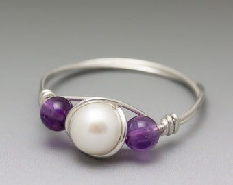White Pearl & Amethyst Sterling Silver Wire Wrapped Bead Ring - Made to Order, Ships Fast!