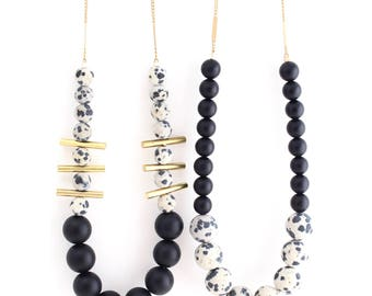 Aussie Black -- colorblock gemstone beaded necklace with brass bars, statement, short length, colorful, boho, bohemian, for her