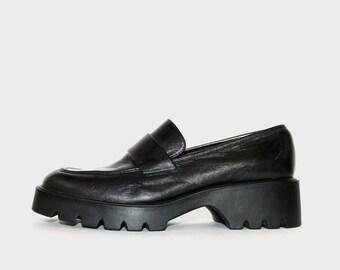 1990s Nine West Black Leather Loafers Platforms