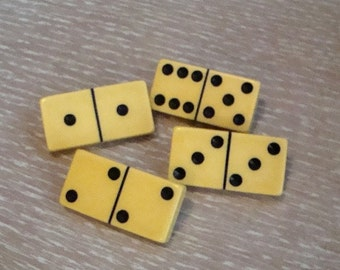 Creamy Yellow Bakelite Domino Brooch ~ Upcycled Vintage Dominoes
