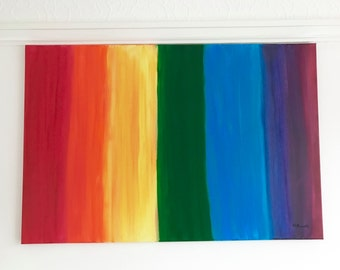 Rainbow painting, acrylic painting, rainbow art, rainbow artwork, rainbow decor, multicolour painting, for children gift for her, home decor