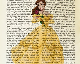 Beauty and the beast, printed on Vintage Paper - 8x10.5 - dictionary art print, vintage book print