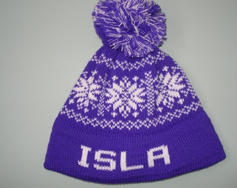 Personalized and machine washable child's knit hat -  Isla, Harper or Sadie