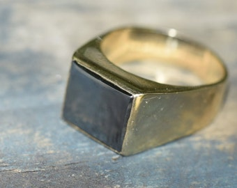 Reserved for Paul. Payment 3. Large signet ring, Black Haematite gents ring, heavy Black and gold, 9ct yellow gold,