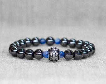 Aries jewelry-for-men bracelet Gifts-for-dad birthday gift Meditation bracelet Aries bracelet Black bracelet Zodiac jewelry Kyanite bracelet