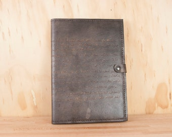 Personalized Leather Notebook - Custom Leather Journal in the Smokey Pattern with inscription - Antique Black A4 Moleskine