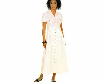 """Easy Semi-Fitted Slightly Flared Back Overlay Dress Sewing Pattern Vintage 90s Size 6-10 Bust 30.5-32.5"""" (78-83 cm) See And Sew 6124 G"""