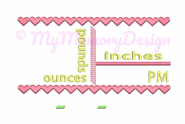 Birth Announcement Template Embroidery Design , Baby Birth Template ...