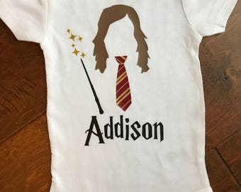 Baby girls personalized Harry Potter, Hermione bodysuit.