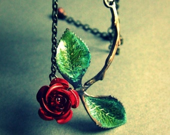Roses are Red- Organic stem and leaf necklace