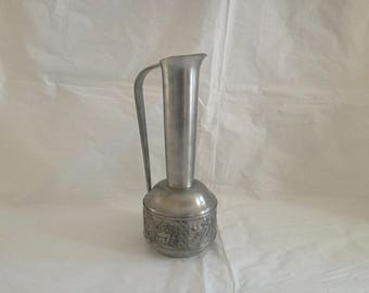 Norwegian TINN Pewter Pitcher ~ Tag Auid Johansen Gullsmed ~ Fiddler and Skaters