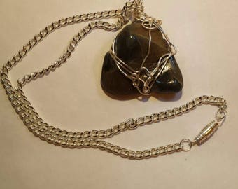 Grey Brown Khaki Stone Handcrafted Wire Wrapped,Dawlish English Gift from the Sea Rock Pendant Unisex Necklace ,Yoga Jewelery,Earth Energy