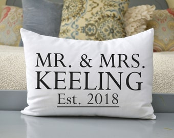 Cotton anniversary, best romantic gift, closing gift, second marriage, family name pillow, 2nd anniversary, best selling, co-wedding gift