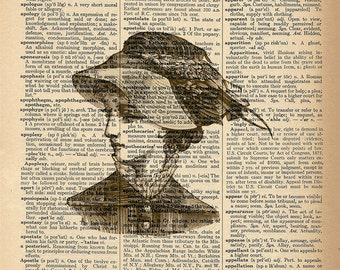 Dictionary Art Print - Victorian Woman - Upcycled Vintage Dictionary Page Poster Print - Size 8x10