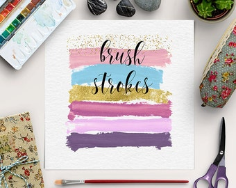 BRUSH ART, Paint Brush Clipart, Logo Design Elements, High Resolution 300 DPI, Paint Strokes In Pink, Blue, Gold & Violet, BUY5FOR8