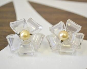 1950s Coro Sterling Lucite Flower Screw Back Earrings