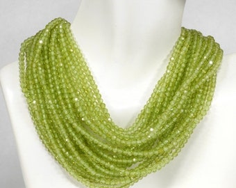 ON SALE AAA Peridot Beads Rondelles Rondels Roundels Faceted Calibrated Earth Mined Gemstone August Birthday - 3mm - 6.5-Inch Strand