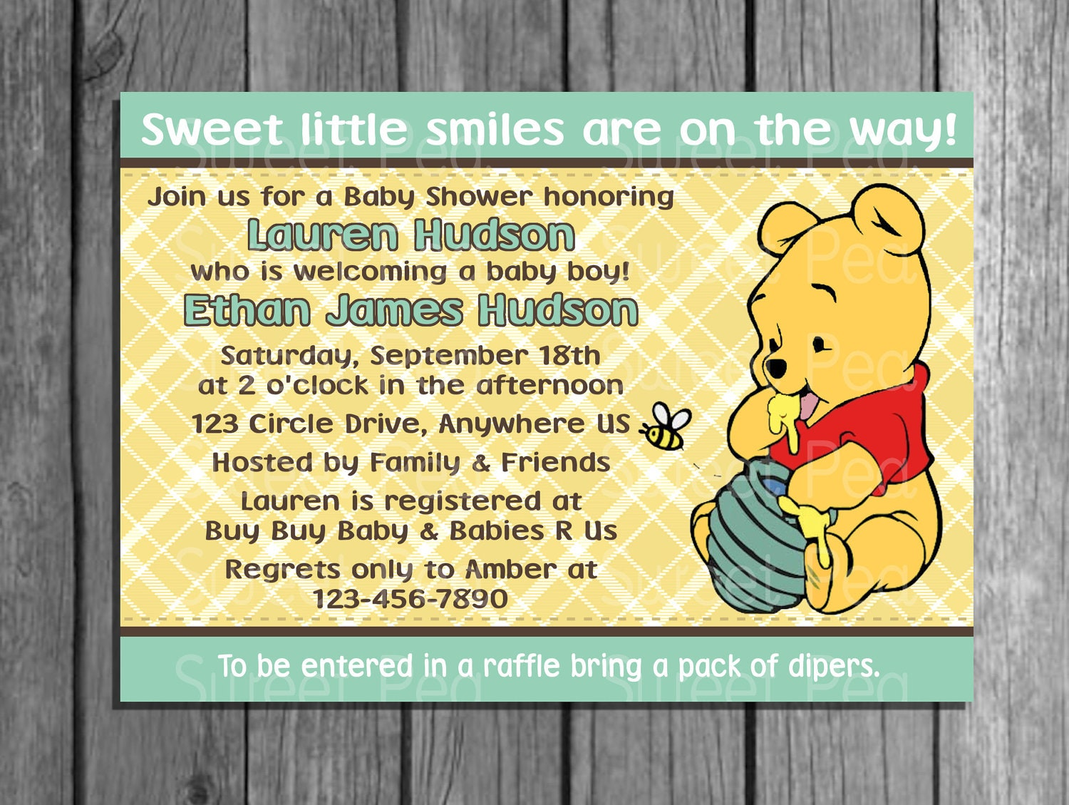 Pooh Bear Baby Shower Invitation Or Thank You Card Invites