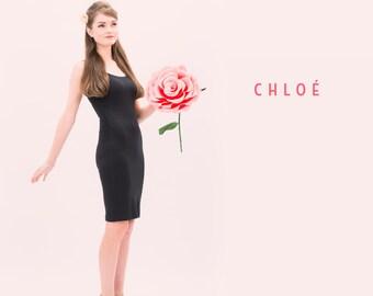 Chloé - genou longueur robe Bodycon - petit noir robe - vêtements bambou - genou longueur robe - petit noir robe - superposition
