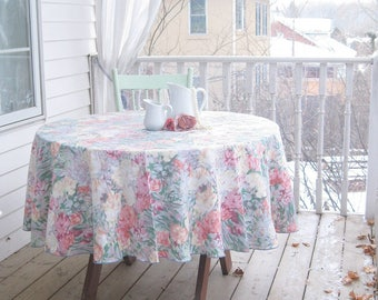 Round Tablecloth with Flowers, Tablecloth, Romantic Home Decor, Wedding Tablecloth, Shabby French, by mailordervintage on etsy