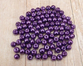 4mm Glass Pearls - Royal Purple - 100 pieces - Dark Violet - Grape