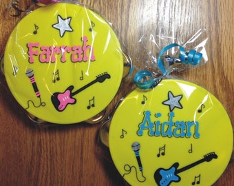 "Personalized Tambourine  5"" / Rock Star Party Favor / Personalized and Gift Wrapped Tambourine / Music Party Favor / Instrument Party Favor"