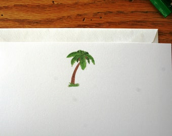 Flat note cards, Note cards, All occasion flat note cards, Watercolor note cards, Palm tree note cards, Correspondence, Stationery