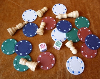 Poker Game Pieces, Destash, Collection, Random Pieces, Poker Chips, Wood Chess Pieces, Dice, Art Supplies, Craft Supplies, Chess Pieces