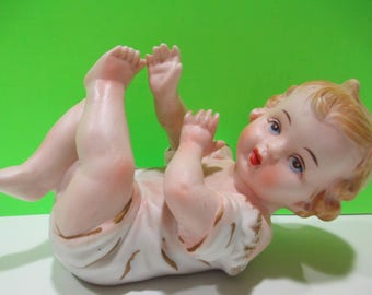 PIANO BABY JAPAN, Baby Figurine Japan, Blonde Baby Figurine Made in Japan
