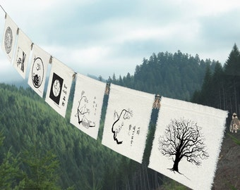 7 group prayer flags for the Earth-Earth Gift-Nature Gift-Wave-Sea Turtle-OM Lotus-Earth-Dove-Grizzly Bear-Tree-Dad Gift-
