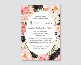 Boho Lingerie Shower Invitation Printable or Printed - Floral and Feathers Bohemian Lingerie Shower Invite, Flower Bachelorette Invites 0014